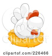 Royalty Free RF Clipart Illustration Of A White Hen Nesting