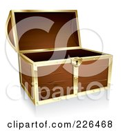 Royalty Free RF Clipart Illustration Of A 3d Wooden Treasure Chest With Gold Trim by TA Images