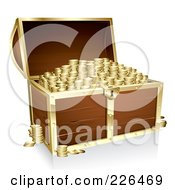 Royalty Free RF Clipart Illustration Of A 3d Full Wooden Treasure Chest With Gold Trim