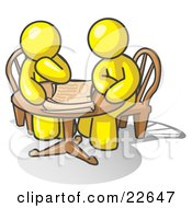 Clipart Illustration Of Two Yellow Businessmen Sitting At A Table Discussing Papers