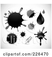 Royalty-Free (RF) Clipart Illustration of a Digital Collage Of Ink Splatters, Drops And A Pen Tip by TA Images