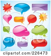 Royalty Free RF Clipart Illustration Of A Digital Collage Of Shiny Chat Window Shapes On Gradient Blue