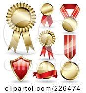 Royalty Free RF Clipart Illustration Of A Digital Collage Of 7 Gold And Red Award Ribbons And A Shield by TA Images