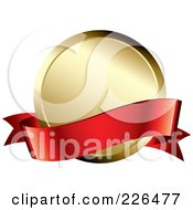 Royalty Free RF Clipart Illustration Of A 3d Red Banner Over A Golden Award Medal by TA Images