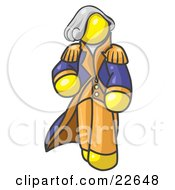 Clipart Illustration Of A Yellow George Washington Character by Leo Blanchette