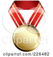 Royalty Free RF Clipart Illustration Of A 3d Gold Medal On A Red And Gold Ribbon by TA Images