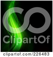 Royalty Free RF Clipart Illustration Of An Abstract Magical Green Wave Background On Black by TA Images