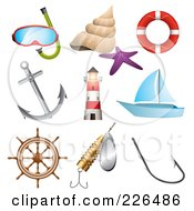 Royalty Free RF Clipart Illustration Of A Digital Collage Of Sea And Nautical Icons by TA Images