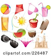 Royalty Free RF Clipart Illustration Of A Digital Collage Of Summer And Beach Icons by TA Images #COLLC226487-0125