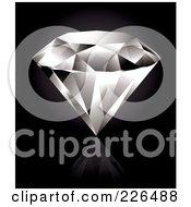 Perfect Diamond On A Reflective Black Background