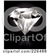 Royalty Free RF Clipart Illustration Of A Perfect Diamond On A Reflective Black Background by TA Images
