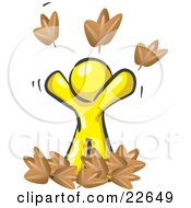 Clipart Illustration Of A Carefree Yellow Man Tossing Up Autumn Leaves In The Air Symbolizing Happiness And Freedom