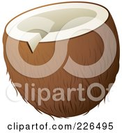 Royalty Free RF Clipart Illustration Of A Coconut With The Top Sliced To Drink From by TA Images