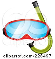 Royalty Free RF Clipart Illustration Of A Red Snorkel Mask And Green Snorkel by TA Images #COLLC226497-0125