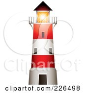 Red And White Lighthouse With A Bright Beacon Shining Over The Balcony