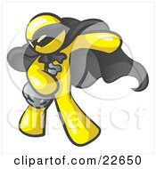 Clipart Illustration Of A Yellow Man In A Mask And Cape Stealing Belongings In A Bag by Leo Blanchette