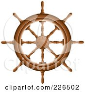 Royalty Free RF Clipart Illustration Of A Wooden Ship Helm by TA Images