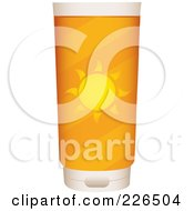 Royalty Free RF Clipart Illustration Of A Container Of Sun Block With A Solar Label