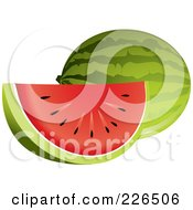 Royalty Free RF Clipart Illustration Of A Huge Watermelon Slice With Red Flesh