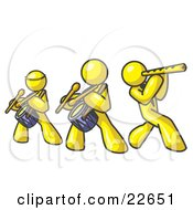 Clipart Illustration Of Three Yellow Men Playing Flutes And Drums At A Music Concert