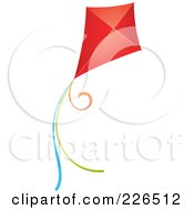 Royalty Free RF Clipart Illustration Of A Flying Red Kite With Colorful Strings by TA Images