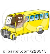 Royalty Free RF Clipart Illustration Of A Bear Cub School Mascot Waving And Driving A School Bus by Toons4Biz