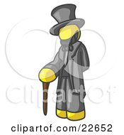 Clipart Illustration Of A Yellow Man Depicting Abraham Lincoln With A Cane