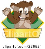 Royalty Free RF Clipart Illustration Of A Bear Cub School Mascot Logo Over A Green Diamond And Blank Gold Banner