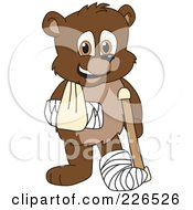 Bear Cub School Mascot With A Sling Cast And Crutch