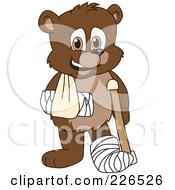Bear Cub School Mascot With A Sling Cast And Crutch