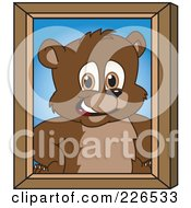 Royalty Free RF Clipart Illustration Of A Bear Cub School Mascot Portrait by Toons4Biz