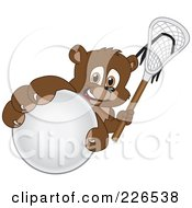 Royalty Free RF Clipart Illustration Of A Bear Cub School Mascot Grabbing A Lacrosse Ball