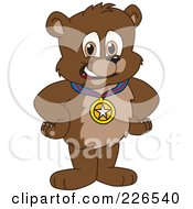 Bear Cub School Mascot Wearing A Medal