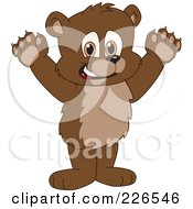 Royalty Free RF Clipart Illustration Of A Bear Cub School Mascot Holding His Paws Up by Toons4Biz