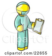 Clipart Illustration Of A Yellow Surgeon Man In Green Scrubs Holding A Pen And Clipboard
