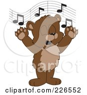 Royalty Free RF Clipart Illustration Of A Bear Cub School Mascot Singing by Toons4Biz