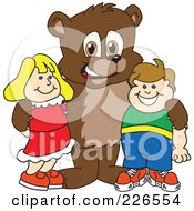 Royalty Free RF Clipart Illustration Of A Bear Cub School Mascot With Students by Toons4Biz