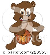 Royalty Free RF Clipart Illustration Of A Bear Cub School Mascot Playing Basketball