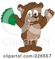 Royalty Free RF Clipart Illustration Of A Bear Cub School Mascot Holding Cash