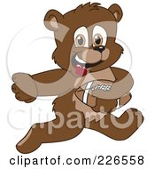 Royalty Free RF Clipart Illustration Of A Bear Cub School Mascot Playing Football by Toons4Biz