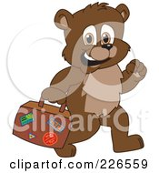 Royalty Free RF Clipart Illustration Of A Bear Cub School Mascot Carrying A Suitcase by Toons4Biz