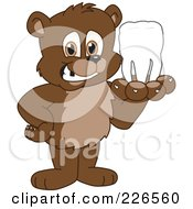Royalty Free RF Clipart Illustration Of A Bear Cub School Mascot Holding A Tooth