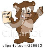 Royalty Free RF Clipart Illustration Of A Bear Cub School Mascot Holding A Report Card by Toons4Biz