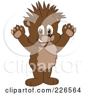 Royalty Free RF Clipart Illustration Of A Bear Cub School Mascot With Spiked Hair by Toons4Biz