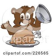Royalty Free RF Clipart Illustration Of A Bear Cub School Mascot Serving A Thanksgiving Turkey by Toons4Biz