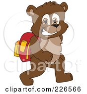 Royalty Free RF Clipart Illustration Of A Bear Cub School Mascot Walking To School