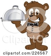 Royalty Free RF Clipart Illustration Of A Bear Cub School Mascot Waiter Serving A Platter