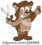 Royalty Free RF Clipart Illustration Of A Bear Cub School Mascot Holding Up Scissors
