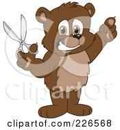 Royalty Free RF Clipart Illustration Of A Bear Cub School Mascot Holding Up Scissors by Toons4Biz