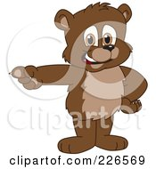 Royalty Free RF Clipart Illustration Of A Bear Cub School Mascot Pointing Left by Toons4Biz